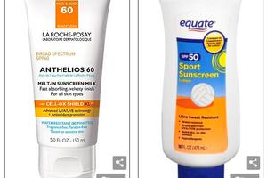 Hãy mua: Mặc dù có nhiều mức giá khác nhau, tuýp kem chống nắng Anthelios (trái) trị giá 36 đô la và sản phẩm Equate giá 5 đô la của Walmart (phải) đứng đầu bảng xếp hạng Consumer Reports 2018