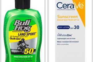 Với giá 8,5 đô la, hóa chất trong lotion chống nắng Bull Frog (trái) có tác dụng bảo vệ chống nắng khá tốt, trong khi lotion kẽm của CeraVe (bên phải) đã không vượt qua được các kiểm nghiệm của Consumer Reports