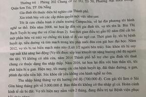 Đơn trình bày hoàn cảnh gia đình xin cứu xét của ông Thanh gửi báo Dân trí