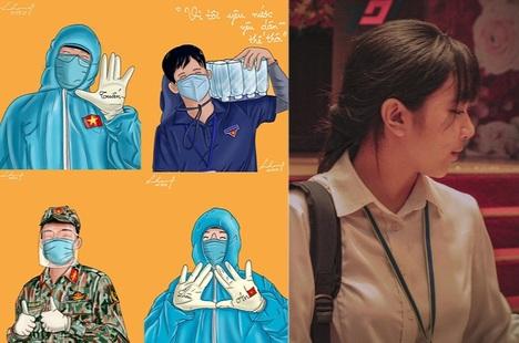 Nữ sinh dùng tranh đồ họa cổ vũ tuyến đầu chống dịch
