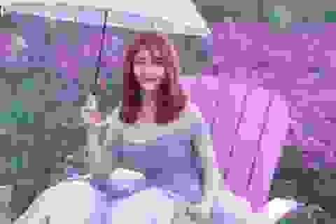 Nữ sinh mơ màng giữa cánh đồng lưu ly tuyệt đẹp