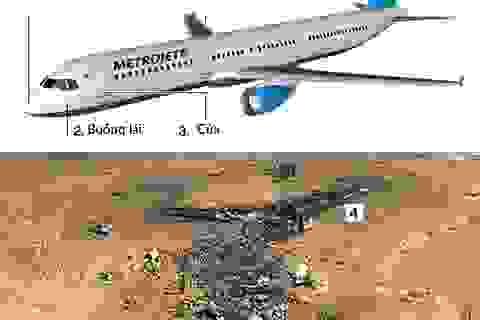 Vị trí các mảnh vỡ tại hiện trường tai nạn máy bay Nga