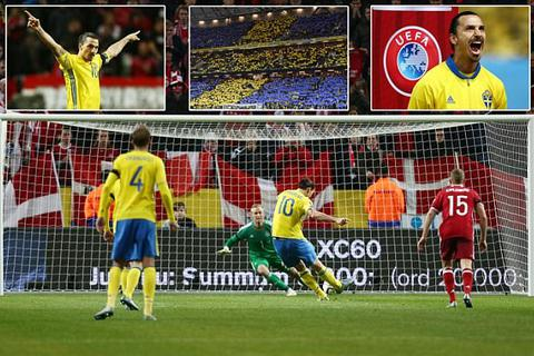 Ibrahimovic ghi bàn, Thụy Điển đánh bại Đan Mạch