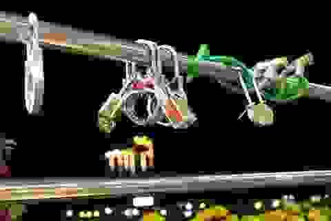 """Xuất hiện """"khoá tình yêu"""" trên cầu đi bộ gần 50 tỷ ở Tây Đô"""