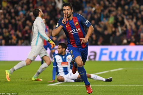 "Luis Suarez lập cú đúp, Barcelona ""vùi dập"" Espanyol"