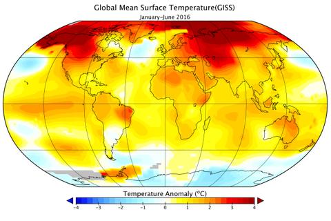 Nửa đầu năm 2016 đạt mức kỷ lục về ấm toàn cầu