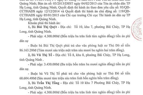 """Quảng Ninh: Tổng cục Thi hành án chỉ đạo xử lý vụ thi hành án kiểu """"sống chết mặc bay"""""""
