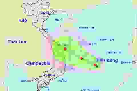 Áp thấp mạnh, khả năng thành bão, hướng vào Khánh Hòa-Quảng Ngãi