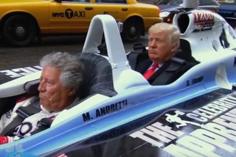 Xem ông Trump dạo phố bằng xe đua