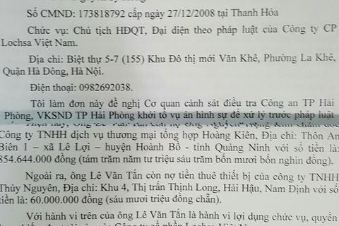 """Công ty Lochsa Việt Nam đề nghị khởi tố """"vụ án vu khống"""" - đâu là căn cứ?"""