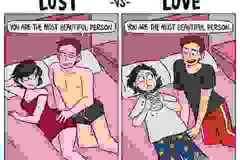 """Hài hước sự so sánh giữa """"yêu vì yêu"""" và """"yêu vì sex"""""""