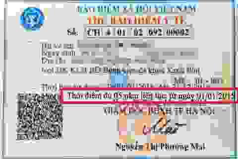 """BHXH VN giải thích về dòng chữ """"Thời điểm đủ 5 năm …"""" trên thẻ BHYT"""