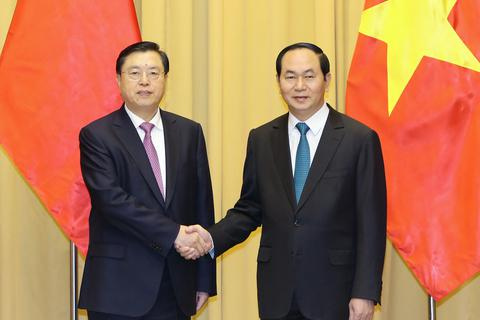 Chủ tịch nước Trần Đại Quang tiếp Ủy viên trưởng Nhân đại Trung Quốc Trương Đức Giang