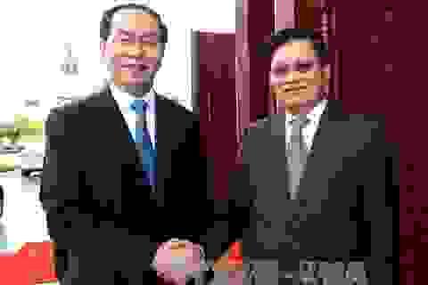 Chủ tịch nước Trần Đại Quang hội kiến Thủ tướng và Chủ tịch Quốc hội Lào