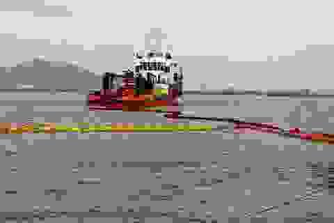 Thả phao vây, hút dầu trên các tàu chìm ở vịnh Quy Nhơn