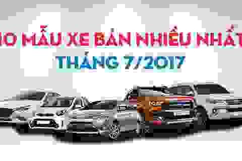 Top 10 mẫu xe bán nhiều nhất Việt Nam tháng 7/2017