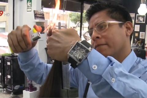 Độc đáo nghề cắt tóc bằng lửa ở Peru