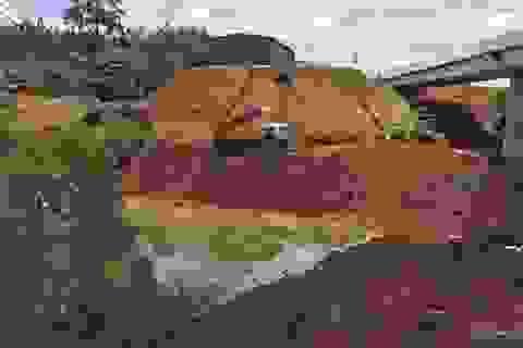 Ngang nhiên lấp cả dòng suối lớn để chiếm đất mặt đường