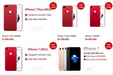 Giá iPhone 7 màu đỏ xách tay giảm sâu dưới 18,5 triệu đồng