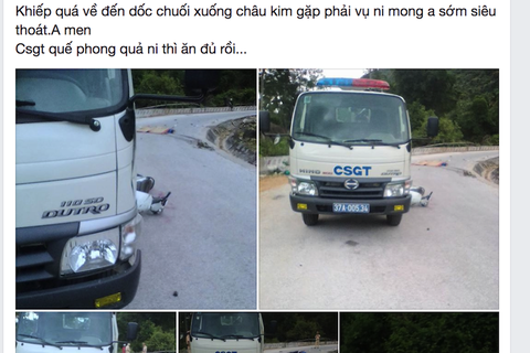 Húc vào xe CSGT, chồng tử nạn, vợ nhập viện