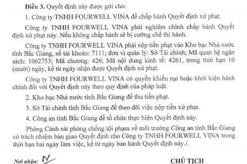 """Chủ tịch tỉnh Bắc Giang quyết định xử phạt công ty may mặc """"bức tử"""" môi trường"""