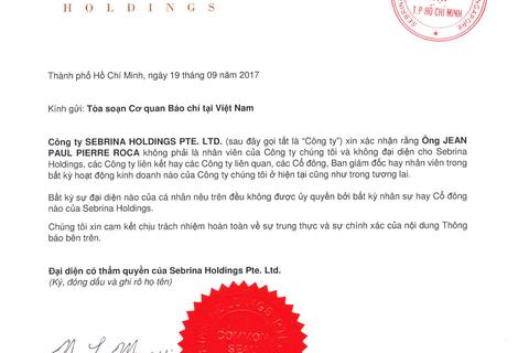 Công ty Sebrina Holdings PTE thông báo bãi trừ trách nhiệm nhân viên