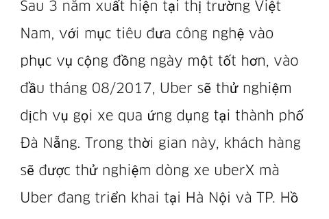 Chưa triển khai thử nghiệm ứng dụng Uber tại Đà Nẵng