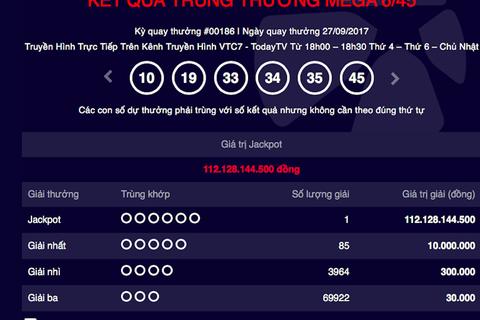 """Thêm một """"đại gia số đỏ"""" trúng Vietlott với số tiền lên đến 112 tỷ đồng"""
