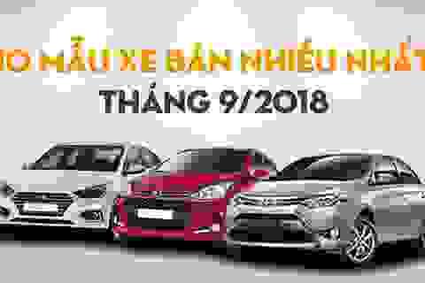 Top 10 mẫu xe bán nhiều nhất tháng 9/2018