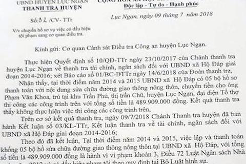 Bắc Giang:  Chủ tịch xã sửa đường… trên giấy, đút túi gần 500 triệu tiền ngân sách!