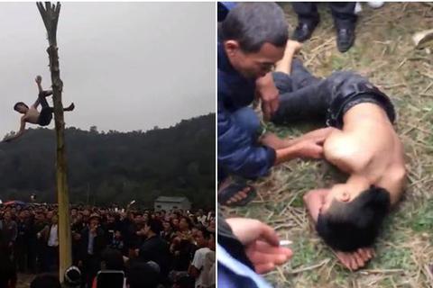 Yêu cầu báo cáo về thanh niên bị ngã bất tỉnh khi trèo ngọn chuối lấy lộc trong lễ hội