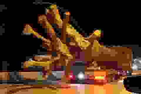 """Xe chở cây """"quái thú"""" dừng lại khu đô thị Ecopark"""