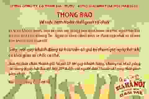 Thông báo tạm hoãn sự kiện Ngày hội Bia Hà Nội 2018 tại Quảng Trị