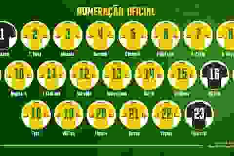 Đội tuyển Brazil công bố số áo 23 tuyển thủ dự World Cup 2018
