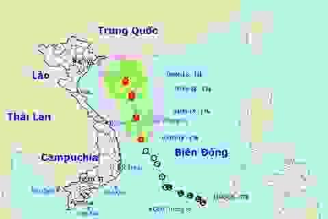 Áp thấp nhiệt đới di chuyển thẳng lên hướng Bắc