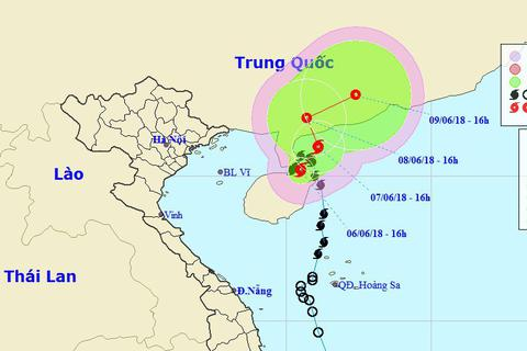 Ảnh hưởng của bão số 2, khu vực Bắc Biển Đông mưa giông mạnh