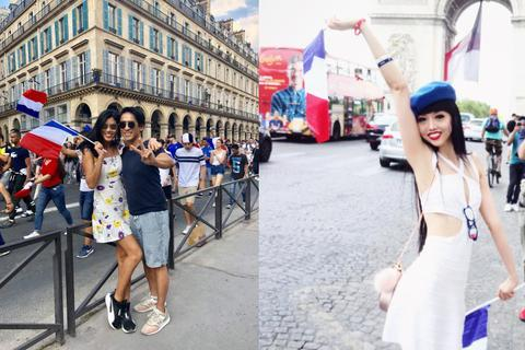 2 siêu mẫu gốc Việt hoà cùng biển người ăn mừng chiến thắng của đội tuyển Pháp
