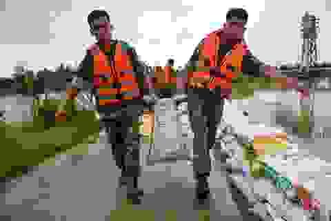 Hà Nội: Hàng trăm bộ đội đắp bao cát bảo vệ đê ở Chương Mỹ