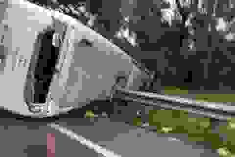 Xe khách lật nghiêng khi tránh cây đổ, 31 hành khách la hét hoảng loạn