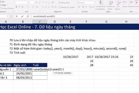 Học tin học Excel: Xử lý kiểu dữ liệu, hàm ngày tháng