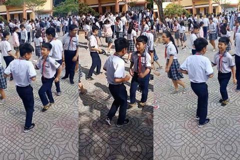 Học sinh trường THCS Nguyễn Thái Bình nhảy cha cha rất dẻo và đẹp