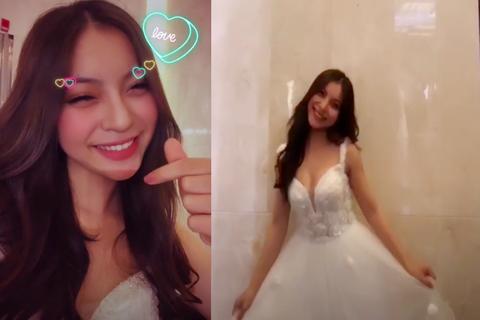 Bạn gái cầu thủ Quang Hải khoe thử váy cưới, làng bóng sắp có tin vui?