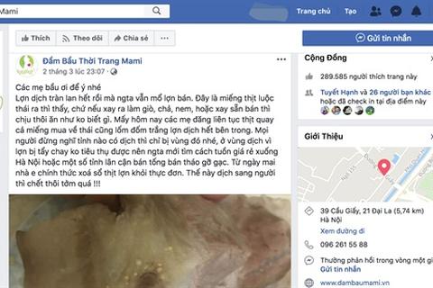 Đăng tin sai về dịch tả lợn châu Phi, chủ Facebook có thể bị phạt 20 triệu đồng