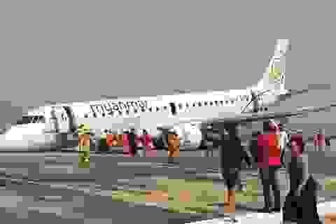 Máy bay Myanmar chở 89 người thoát hiểm nhờ hạ cánh bằng mũi