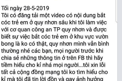 Xử lý người tung tin sai sự thật vụ bắt cóc trẻ em ở Quy Nhơn
