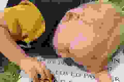 Cảm động hình ảnh cậu bé hát bên mộ cha