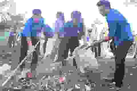 """Gần 300 đoàn viên, thanh niên tham gia làm sạch bãi biển trong """"Ngày thứ 7 tình nguyện"""""""