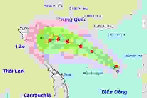 Vùng áp thấp ở Biển Đông đã mạnh lên thành áp thấp nhiệt đới