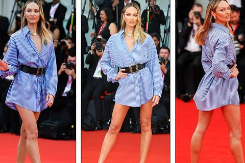 """Candice Swanepoel mặc áo """"quên quần"""" dự LHP Venice"""