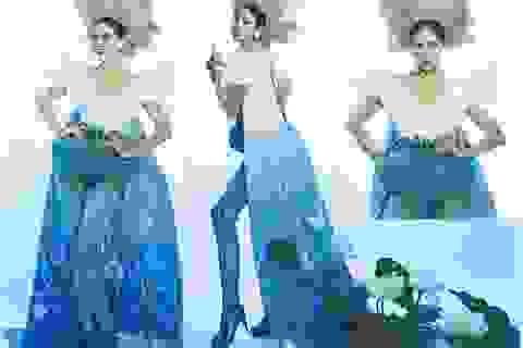 """Hoàng Hạnh mang """"hồ sen"""" lên trang phục dân tộc tại Miss Earth 2019"""